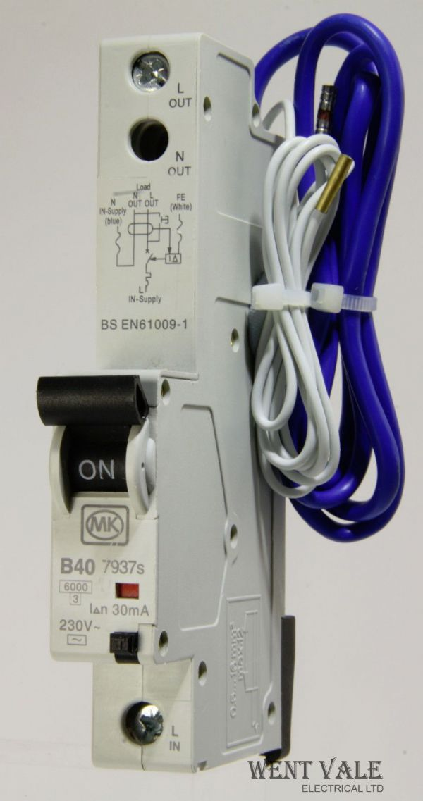 MK Sentry - 7937s - 40a 30mA Type B Single Pole RCBO Used
